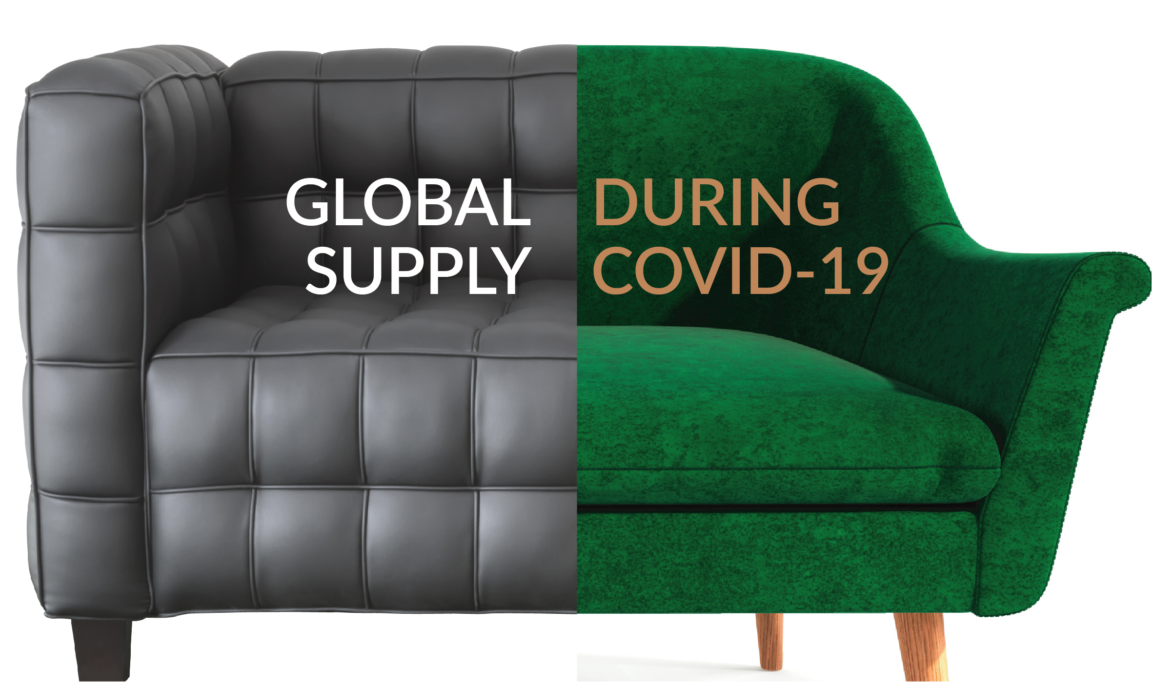 collage of black leather and green velour sofas
